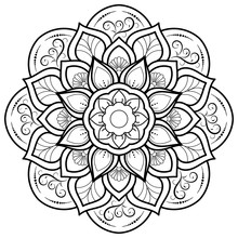 Circle Flower Of Mandala With Floral Ornament Pattern,Vector Mandala Relaxation Patterns Unique Design With Nature Style, Hand Drawn Pattern,Mandala Template For Page Decoration Cards, Book, Logos