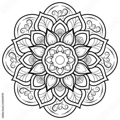Circle flower of mandala with floral ornament pattern,Vector mandala relaxation patterns unique design with nature style, Hand drawn pattern,Mandala template for page decoration cards, book, logos Fototapete