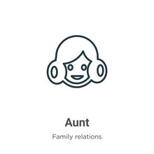 Aunt Outline Vector Icon. Thin...