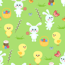 Easter Seamless Pattern On Gre...