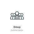 Group outline vector icon. Thin line black group icon, flat vector simple element illustration from editable customer service concept isolated stroke on white background