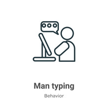Man Typing Outline Vector Icon...