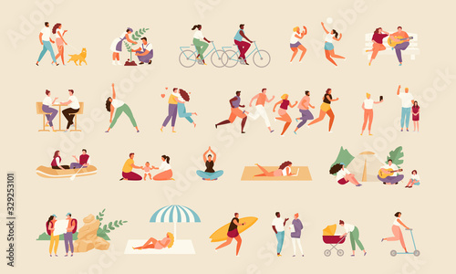 Obraz Large collection of summer active people. Recreation and outdoor sports vector illustration - fototapety do salonu