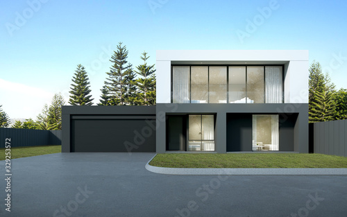 Perspective of  black and white modern luxury house with green lawn yard on tree background, Idea of minimal architecture with garage door Wallpaper Mural