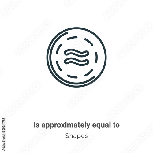 Is approximately equal to symbol outline vector icon Canvas Print