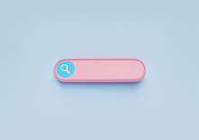 Minimal Blank Search Bar On Pastel Blue Background. Web Search Concept. 3d Rendering