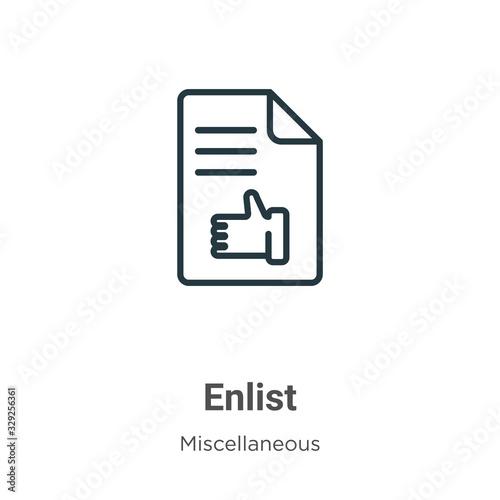 Платно Enlist outline vector icon