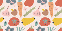 Fruit And Vegetable Pattern, S...