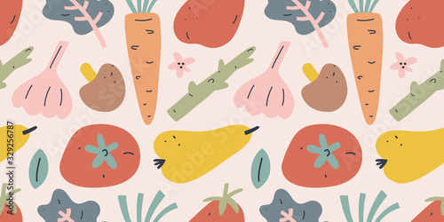 Fruit and vegetable pattern, seamless vector background, tomato, pear and carrot with garlic. Trendy flat hand drawn art in earthy colors, ornament for kitchen textile, - 329256787