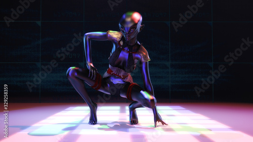 Photo Artistic 3D illustration of a female alien
