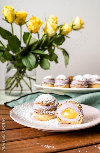 Photo Choux cake dessert sweet lemon yellow