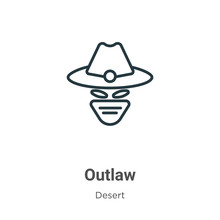 Outlaw Outline Vector Icon. Th...