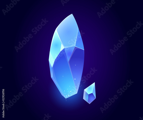 Blue crystal gems, jewel rock mineral stones, isolated natural neon glowing aquamarine gemstones sapphire or quartz glass, jewelry and geology magic computer game item, Cartoon vector illustration