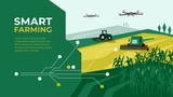 Smart farm with drone control. Innovation technology in agriculture. Farming illustration with tractor, corn field. Template with circuit board for high tech agro company. Design for layout, flyer, ad