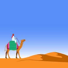 Riding Camel Across Desert Fla...