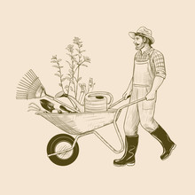 ..Gardener With A Wheelbarrow ...