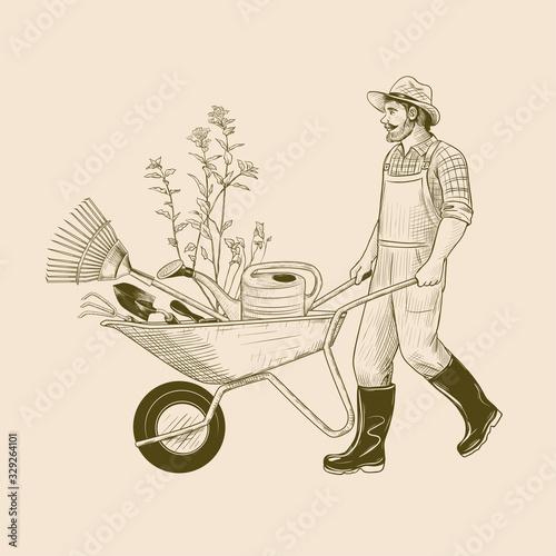 ..Gardener with a wheelbarrow and garden tools. Vintage vector illustration. Ink Poster Mural XXL