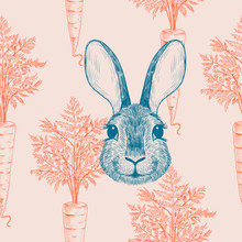 .Vintage Seamless Pattern With Rabbit And Carrots. Vector Ink Drawing. Imitation Engraving..