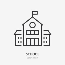 School Building Line Icon, Vec...