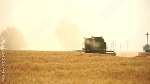 Aufkleber - Combine harvester harvests grain in the field at sunset. Behind him is a cloud of dust. Slow motion