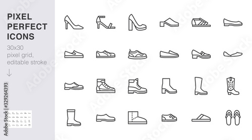 Fototapeta Shoe line icon set. High heels sandal, cowboy boots, hiking footwear, sneakers, slipper minimal vector illustrations. Simple outline signs for fashion application. 30x30 Pixel Perfect Editable Stroke obraz