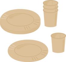 茶色の紙コップと紙皿