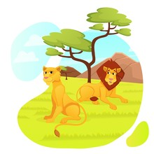 Lions Predator Family, Male And Female African Animals Relaxing In Modern Zoo Park Open Air Cage On Nature, Lazy Lion With Beautiful Mane And Lioness Wildlife, Safari, Cartoon Flat Vector Illustration