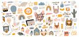 Fototapeta Fototapety na ścianę do pokoju dziecięcego - Cute kids scandinavian characters set including trendy quotes and cool animal decorative hand drawn elements. Cartoon doodle  illustration for baby shower, nursery room decor, children design. Vector.