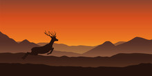Jumping Deer Silhouette On Mou...