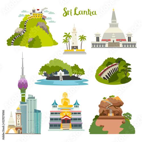 Fotografie, Obraz Sri Lanka island vector illustration collection