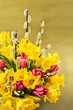 Tulips, willow and daffofils. Easter bouquet