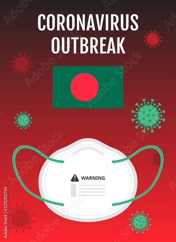 Photo bangladesh country flag illustration carrying or spread corona virus covid-19 ou