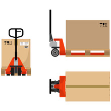 Hand Pallet Truck With A Cardboard Box, Flat Design. Top View, Front And Side View. Vector Illustration.
