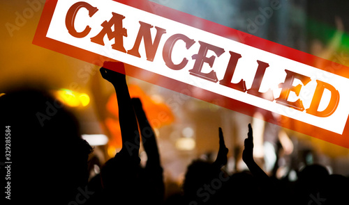 Photo public event cancelled - crowd at concert - coronavirus measures