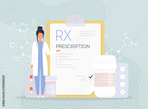 Valokuva RX medical prescription drug vector illustration