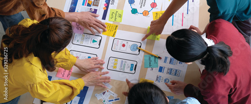 Brainstorm planing creative asian teamwork,  Group of asia mobile phone app deve Fototapete