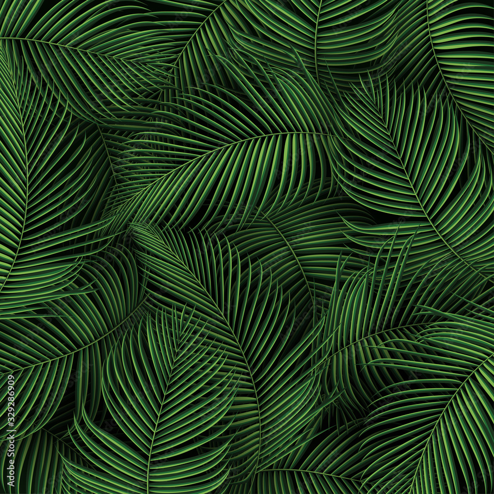Fototapeta Tropical summer leaves background with jungle plants