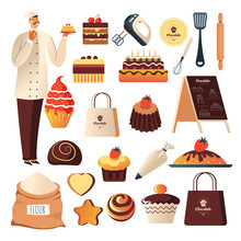 Bakery Shop, Baker And Confectionery Or Pastry Food, Isolated Icons
