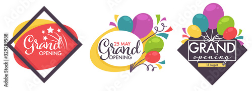 Obraz Grand opening isolated icons, balloons and confetti decor - fototapety do salonu