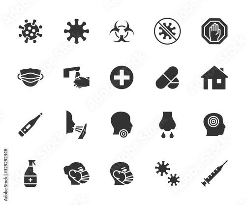 Fényképezés Vector set of virus flat icons