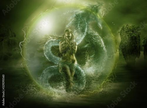 Obraz na plátně 3D rendering illustration of a Goddess standing in front of water dragon