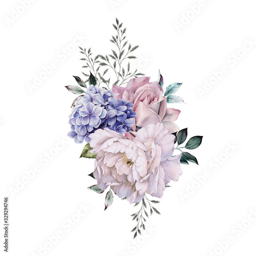 Obraz Bouquet of flowers, can be used as greeting card, invitation card for wedding, birthday and other holiday and  summer background. Watercolor illustration - fototapety do salonu
