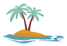 Desert Island Isolated Icon, T...