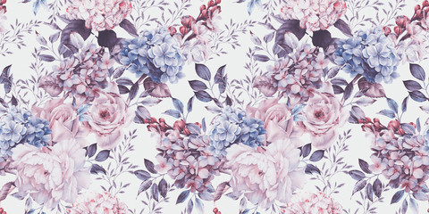 Seamless floral pattern with flowers on light background, watercolor. Templat...