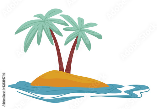 Desert island isolated icon, traveling and summer vacation