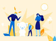 Father Shouting at Daughter for Bad Behaviour Flat Cartoon Vector Illustration. Upset, Sad Girl Listening to Man. Parents Bringing up Child. Wife and Husband Talking to Small Kid. teddy Bear.