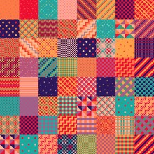 Bright Colorful Patchwork Pattern From Square Patches. Multicolor Print For Fabric And Textile. Quilt Design.