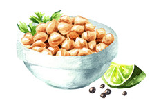 Bowl Of Boiled Chickpeas With ...