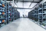 Fototapeta Przestrzenne - Bitcoin and crypto mining farm. Big data center.