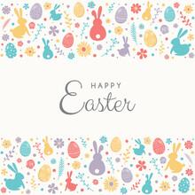 Colourful Eggs, Bunnies And Fl...